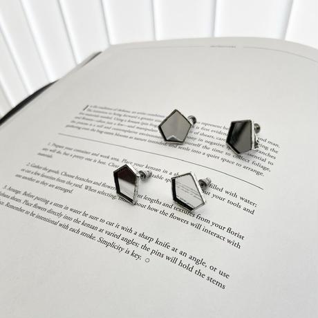 PENTAGON PIERCE /EARRING | ミラーガラスの5角形ピアスイヤリング