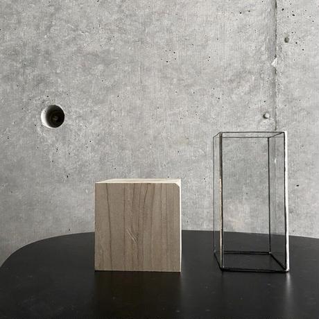 【ティーライト付き】ハクガラス器+ウッドキューブ/ 高さ18cm/ブラック・シルバー//HAKU GLASS CONTAINER & WOOD CUBE