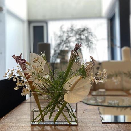 【即納・残り1】ハクガラス器・フラワーベース/ 長方形(横長)HAKU GRASS・FLOWER VASE