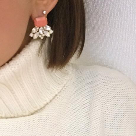 Orange bijou pierced earring