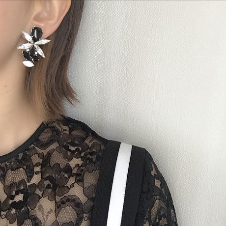 black crystal pierce earring