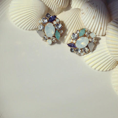 White pastel color earring