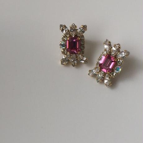 Pink crystal pierce earring