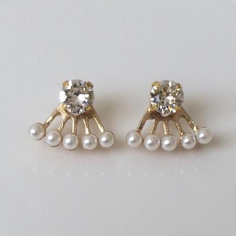 Crystal pearl two-way pierced earring