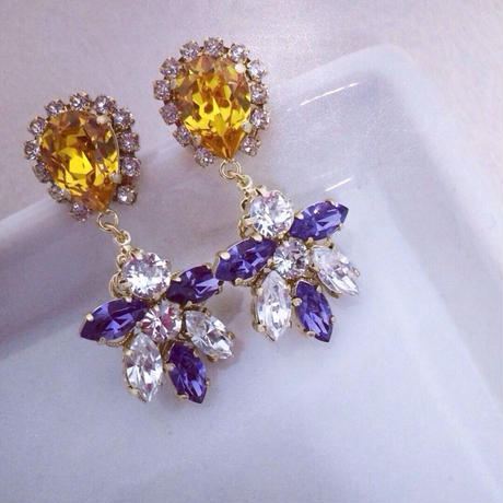 Yellow Purple Swarovski Pierced earring