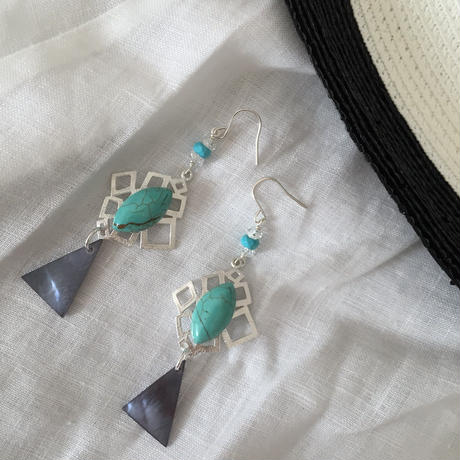 silver turquoise shell pierce