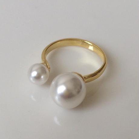 Imitation pearl ring gold