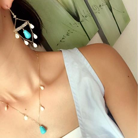 14kgf turquoise shell necklace