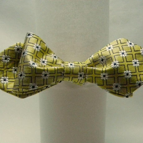 3P Silk Jacquard Flower Butterfly Tie (Yellow)