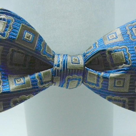3P Silk Jacquard Classic Pattern Butterfly Tie (Blue)