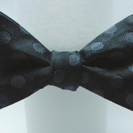 3P Silk Satin Dots Butterfly Tie (Black)