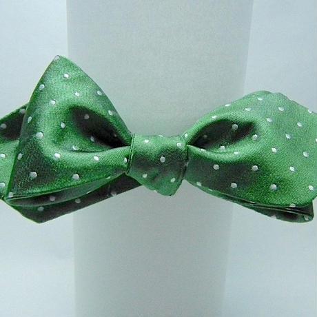 3P Silk Satin Dots Butterfly Tie (Green)