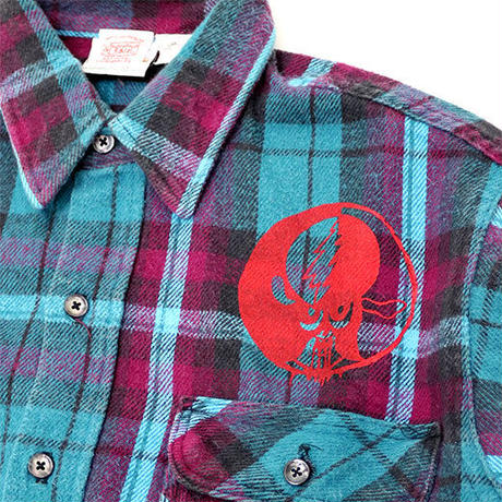 PRINTED USED FLANNEL SHIRT - TEAL