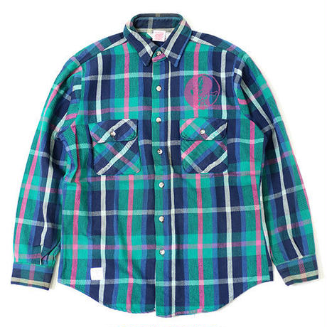 PRINTED USED FLANNEL SHIRT - NAVY/GREEN