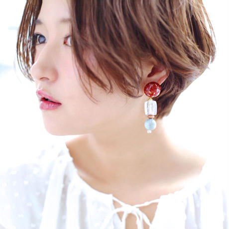 Big silhouette pierce/earring  RED