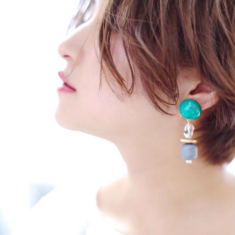 Big silhouette pierce/earring GREEN