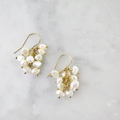 Freshwater pearl Fringe Pireced earrings【14kgf 】