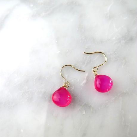 Chalcedony Hook Pireced earrings【14kgf 】