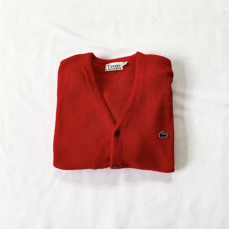 [XL]LACOSTE_ Acrylic cardigan_70s USA