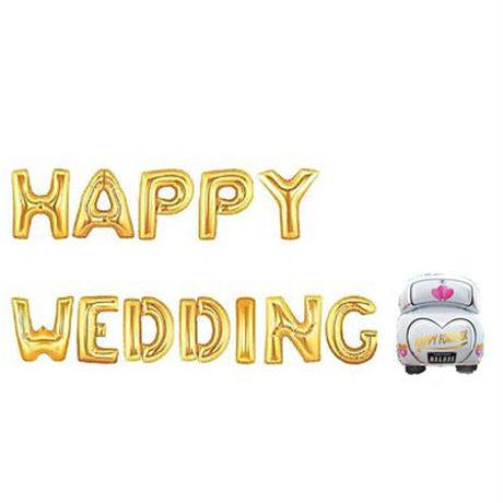 バルーン HAPPY WEDDING 文字セット アルファベット 風船 POP バルーン 英字 ゴールド 金 英字 文字 風船 ウェディング アイテム 二次会 飾り