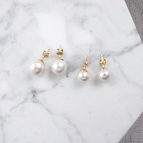 cottonpearl pierce,earring