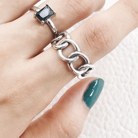 twist chain ring(silver925)