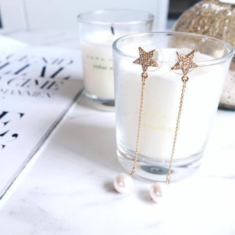 pave star pearl pierce,earring