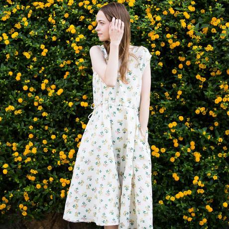 dance flower柄リネンワンピース