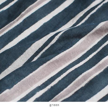 mix stripe コットンカディVネックタンク