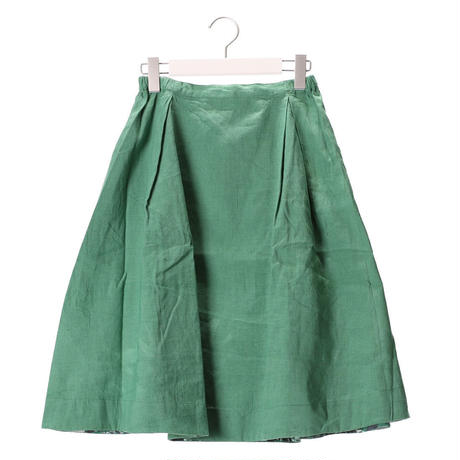 リネンサイドタックフレアスカート 【green】