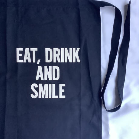 "DRESSSEN LWL NV3 ""EAT,DRINK  AND  SMILE"" APRON(腰巻きエプロンです)  ダークネイビー"