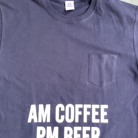 "⭐️限定販売 DRESSSEN  DSST66 DRES""SPECIAL""SSEN  ""AM  COFFEE  PM BEER"" T-SHIRTS (生成りロゴ)  ネイビーカラー"