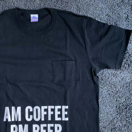 "🔴新発売 DRESSSEN  DSST112 DRES""SPECIAL""SSEN    ""AM COFFEE PM BEER""  T-SHIRTS (生成りロゴ)BLACK COLOR"