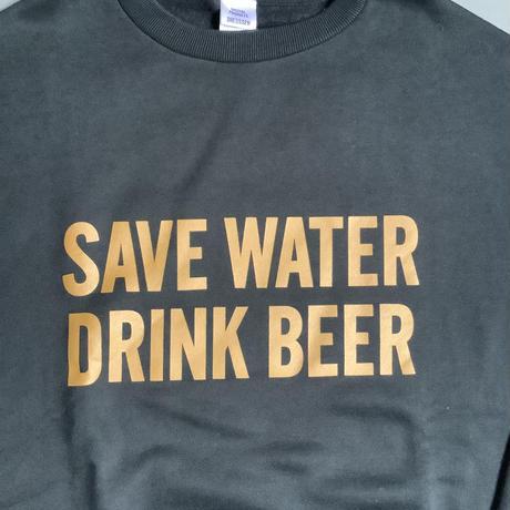 """[オンラインストア限定発売]DSS8 SWEAT  SHIRTS """" SAVE WATER  DRINK BEER """"(BLACK COLOR)   YELLOWロゴ"""