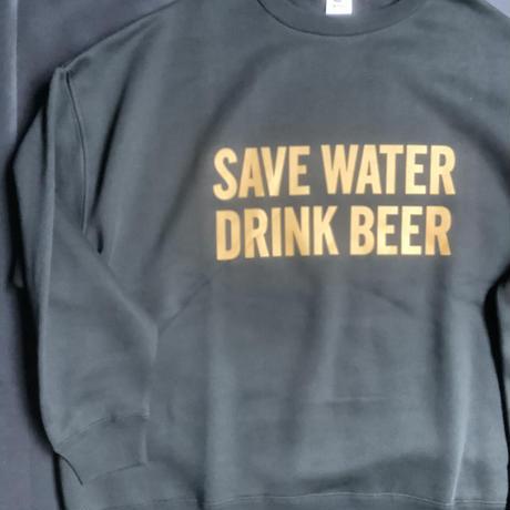 """[オンラインストア限定発売]DSS12 SWEAT  SHIRTS """" SAVE WATER  DRINK BEER """"(BLACK COLOR)   YELLOWロゴ"""