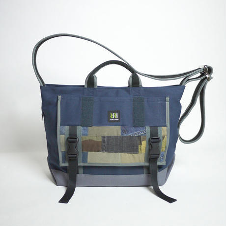 Messenger Tote / Cerulean Blue×Cool Grey