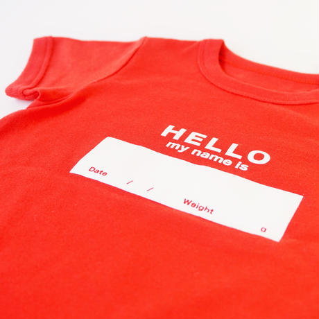 "DRIBBLE ""HELLO MY NAME IS"" ロンパース / RED"