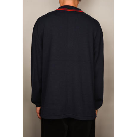 Wool Knit Polo (Navy)