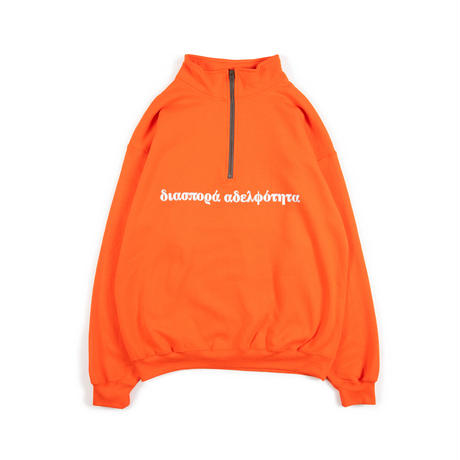 Long Letter Quarter Zip Sweatshirt (Orange)