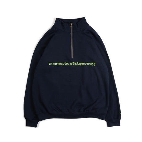 Long Letter Quarter Zip Sweatshirt ( Navy)