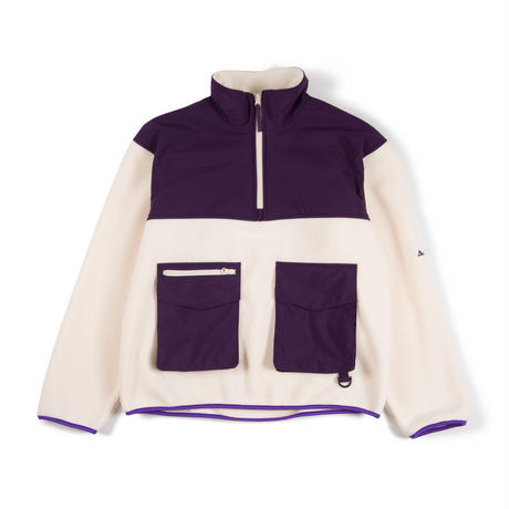 Utility Fleece Pullover / Off White - Purple