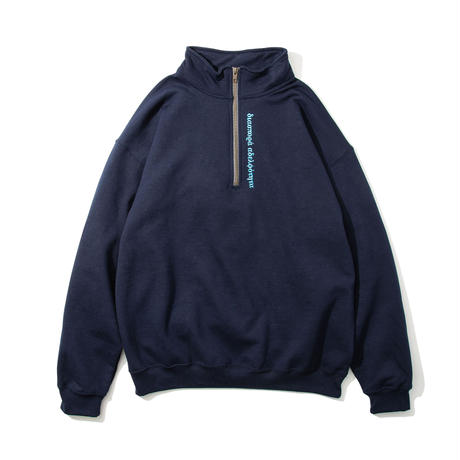 Long Letter Half Zip Sweatshirt (Navy)