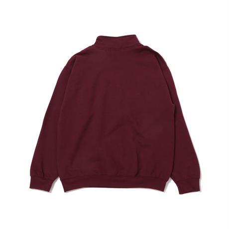 Long Letter Half Zip Sweatshirt (Maroon)