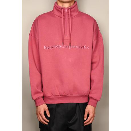 Long Letter Embroidered Half Zip Sweatshirt (Light Beni)