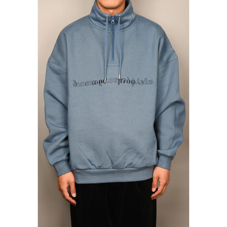 Long Letter Embroidered Half Zip Sweatshirt (Steel Blue)