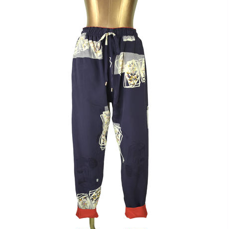 goto asato Reversible Slim Trousers〔GA-TR03X〕(03:紫地に重ね紙柄と地織り)