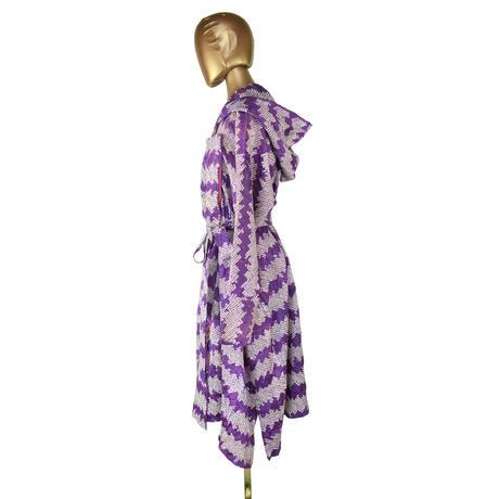 goto asato  Shibori Lightning Dress Coat   〔LT-CT01X〕 (02:紫地に白の横縞絞り)