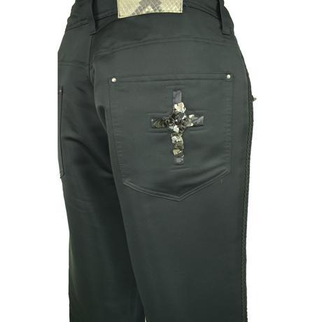 KOHSHIN  SATOH  レディース インド刺繍 ストレートパンツ〔PPL-078〕(Black 26)