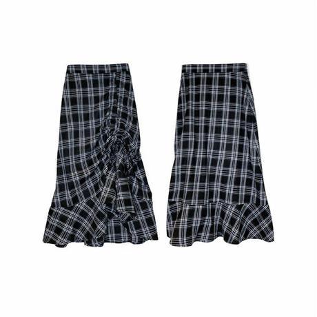 チェック柄 デザインスカート〔OB012〕