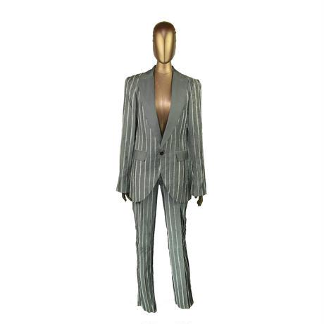 KOHSHIN  SATOH  レディース ストライプ状 切り替えデザイン スーツ〔PSU-002〕(Grey 38)